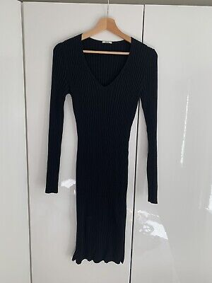 WOLFORD Jumper Dress Size M Medium In BLACK 100% Merino Virgin Wool • 58£