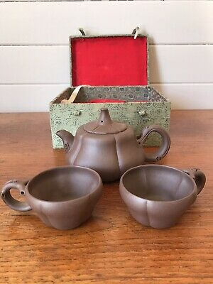 AU140 • Buy Vintage Cased Chinese Pumpkin Yixing Tea Set Teapot And Cups Made In China