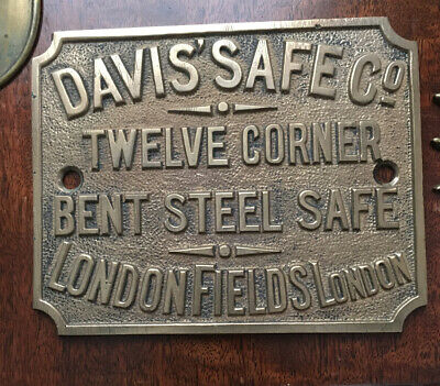 Rare Antique Cast Brass Davis Safe Co Plaque/Plate • 29.99£