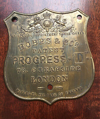 A Rare Antique Hobbs And Co Brass Safe Plaque/Plate In Good Condition • 29.99£