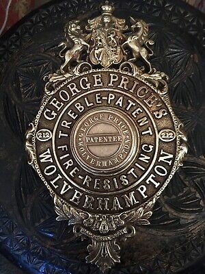 A Rare George Price Cast Brass Treble Patent Safe Plaque/Plate Escutcheon • 69.99£