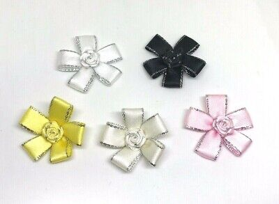 Quality Satin Flower Bows With Silver Detail 3cm - Packs Of 5,10 Or 20   • 1.85£
