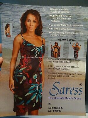 SARESS Black Green Jungle Print Beach Dress Size M Size 10 12 • 2.99£