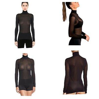 WOLFORD Tulle High Neck Sheer Top | Black | Size Medium | Streamlined Fit | £135 • 47.99£