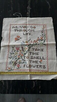 Finished Cross Stitch Flowers Style Wall Hanging • 2.95£