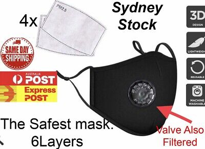 AU9.95 • Buy Face Masks Safest Washable. 4 X Filters. 6 Layer. SYD STOCK.   FAST SHIPPING