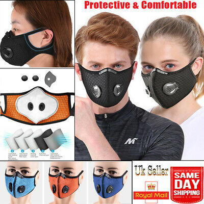 UK-Men Face Mask Reusable Washable Anti Pollution PM2.5 Two Air Vent With Filter • 4.99£