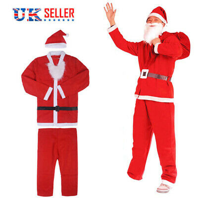 Santa Claus Costume Father Christmas Suit With Hat Mens Adult Fancy Dress Outfit • 5.99£