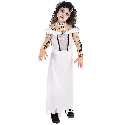 Girls Zombie Bride Costume Kids Halloween Gothic Ghost Fancy Dress Childs Outfit • 10.36£