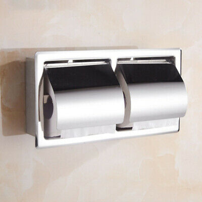 AU20.99 • Buy Wall Mounted Stainless Double Toilet Paper Holder Towel Roll Tissue Rack Storage