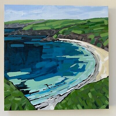 Whistling Sands, Sea Beach Landscape Original Painting Acrylic On Canvas • 60£