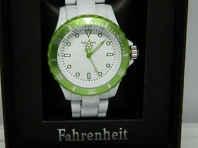 Fahrenheit Colours Unisex Bracelet Watch In White With Green Rotating Bezel,1atm • 21.99£