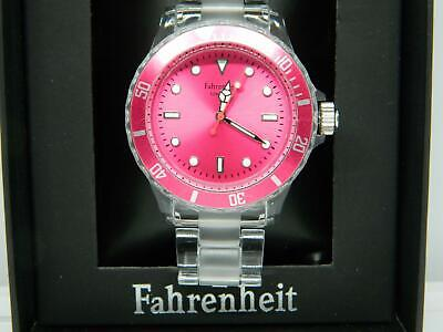 Fahrenheit Colours Unisex Bracelet Watch In Crystal,Pink Dial And Rotating Bezel • 21.99£