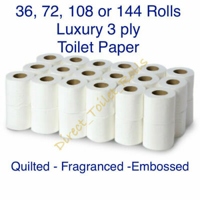 3 Ply Luxury Quilted Embossed Fragranced Toilet Paper Roll 20M Rolls Bulk Buy • 20.99£