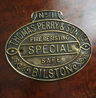 Lovely Condition Antique No1 Quality Thomas Perry Safe Plaque/Plate • 19.99£