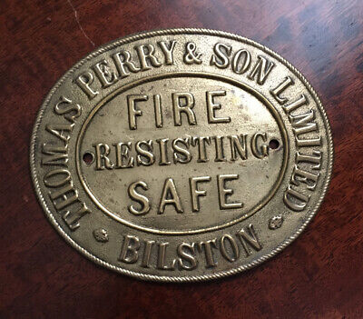 Antique Thomas Perry Brass Safe Plaque/Plate • 18.99£
