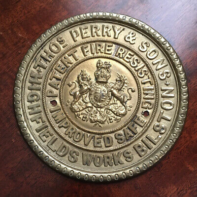 Antique Brass Thomas Perry Safe Plaque/Plate Excellent Condition  • 22£