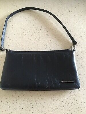Jane Shilton Black Soft Leather Clutch / Over Shoulder Bag Vintage. • 5£