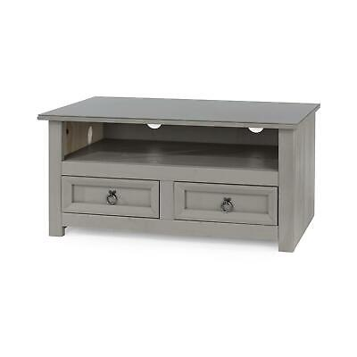 Corona Compact Grey Glass Top 2 Drawer TV Plasma Cabinet Stand Solid Pine Second • 64.99£