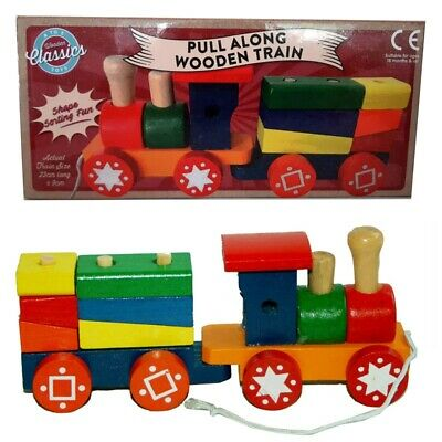 Pull Along Wooden Train Kids Toy Play Set Children Role Colourful Blocks Build  • 6.99£