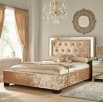 Littlewoods 5ft King Size Double Bed Gold Crushed Velvet Fabric Mirror Headboard • 199.98£