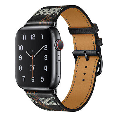 AU19.99 • Buy  Black Leather Watch Band Starp For Apple Watch Series 6 40mm 44mm / Watch SE