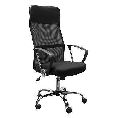 AU196.16 • Buy Executive Office Chair High Back Chrome Base Adjustable Height Ergonomic Black