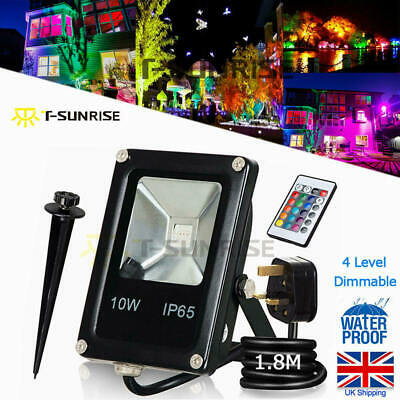 T-SUN 10W LED Floodlight RGB Color Change Garden Spot Lights With Remote Control • 11.99£