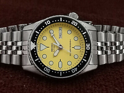 $ CDN117.32 • Buy Lovely Yellow Modded Seiko 7s26-0030 Skx013 Automatic Mens Watch Sn 700386