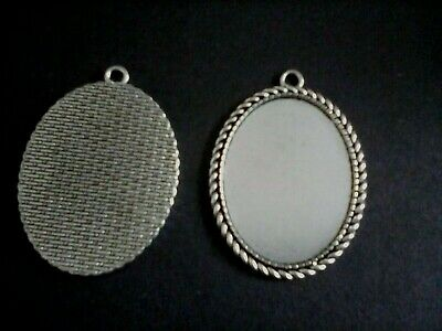 3 Antique Silver Cabochon Cameo Setting Pendant Tray 30x 40 Jewellery Making H29 • 2.95£