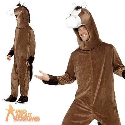 Adults Horse Costume Grand National Jockey Animal Mens Ladies Fancy Dress Outfit • 27.99£
