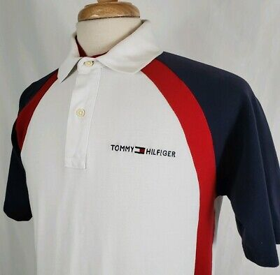 AU31.27 • Buy Vintage Tommy Hilfiger Polo Shirt Medium S/S Color Block Flag Spell Out Golf Red