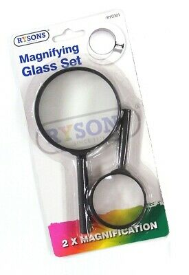 Magnifying Glass Set Large Small Magnifier Glass Lens Handheld 2 75mm And 50mm • 2.89£