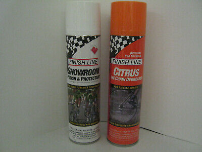 Finish Line SHOWROOM POLISH & PROTECTANT + CITRUS Bike Chain Degreaser TWIN PACK • 11.99£