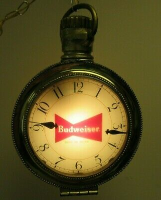 $ CDN329.48 • Buy Vintage Budweiser Lighted Pocket Watch Clock Hanging Sign Clydesdale Horses