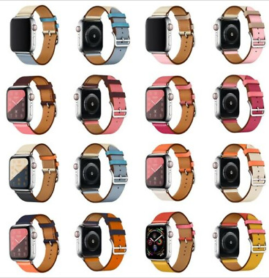 AU16.99 • Buy Leather Watch Band Belt Single/Double For Apple Watch SE 40mm/44mm