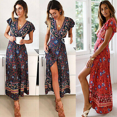 AU18.80 • Buy Womens Summer Boho Floral Paisley Maxi Dress Casual Holiday Beach Party Dresses
