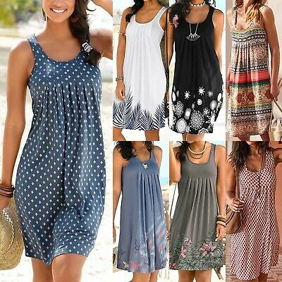AU24.98 • Buy Women Boho Summer Beach Midi Dress Ladies Sleeveless Loose Sundress Plus Size AU