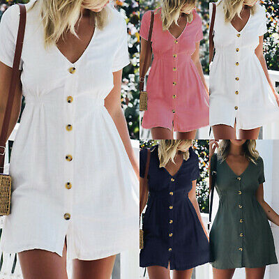 AU16.71 • Buy Womens Button Down V Neck Mini Tea Dress Summer Beach Shirt Sundress Plus Size