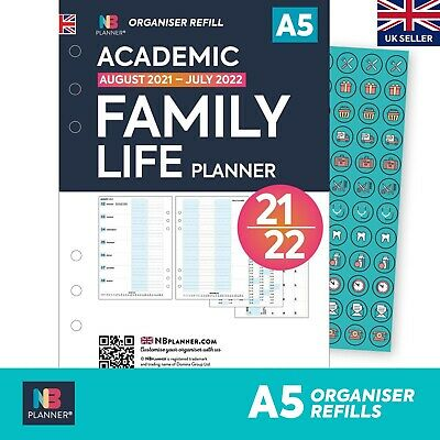 £8.98 • Buy Academic 2021-22 Family Life Planner Organiser Refill Filofax A5 COMPATIBLE