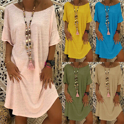 AU16.81 • Buy Plus Size Women Boho Loose Tunic Dress Ladies Summer Beach Baggy Kaftan Dress AU