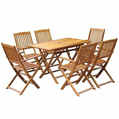 AU399.95 • Buy Outdoor Dining Table And Chairs Set Wood 6-Seater Patio Garden Folding Furniture
