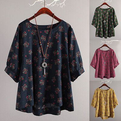 AU15.19 • Buy Womens Boho 3/4 Sleeve Tops T-Shirts Ladies Casual Loose Summer Blouse Plus Size