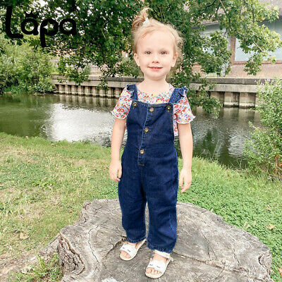LAPA Kids Toddler Baby Girls Denim Jeans Ruffle Jumpsuit Pants Overall Dungarees • 10.07£