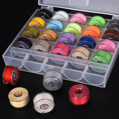 25x Bobbins Sewing Machine Spools  Case With Sewing Thread For Sewing Machine • 5.70£