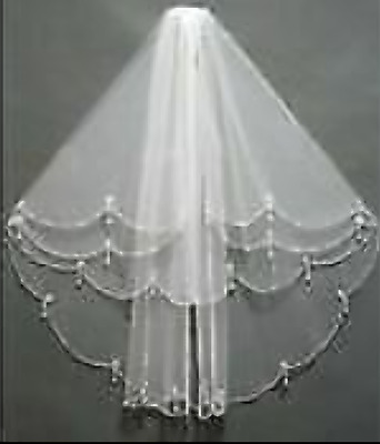 2 Tier Elbow Length Beaded/pearl/crystal Edged White Bridal Veil With Comb • 40£
