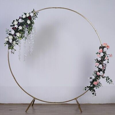 $115.89 • Buy 7.5 Ft Gold Round Metal Wreath Arch Backdrop Stand Wedding Party Decorations