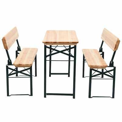AU243.95 • Buy Wooden Folding Beer Table With 2 Bench Set Garden Outdoor Bar Setting Furniture