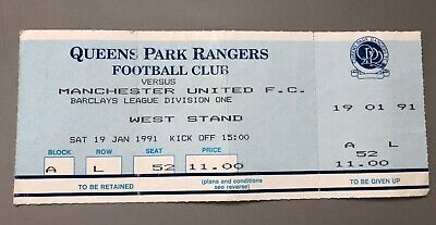 Queen's Park Rangers Vs Manchester United Ticket Stub 19th January 1991 Intact • 0.40£