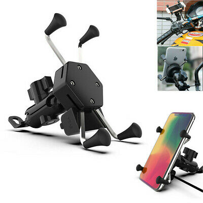 AU13.99 • Buy Universal Motorcycle Motorbike Mobile Phone Mount Holder X Grip Clamp USB Charge